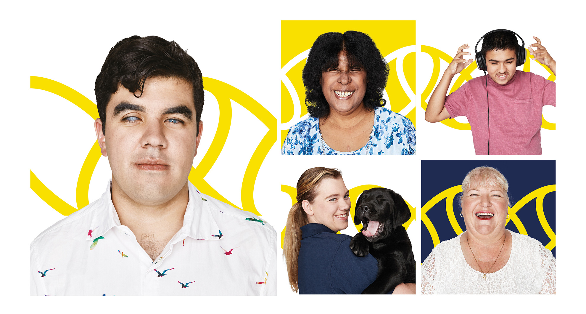 Collage of 5 photos, includes Santiago - client, Jayna - client, Amish - client, Debra - volunteer and Brit - staff member holding a black Labrador puppy.