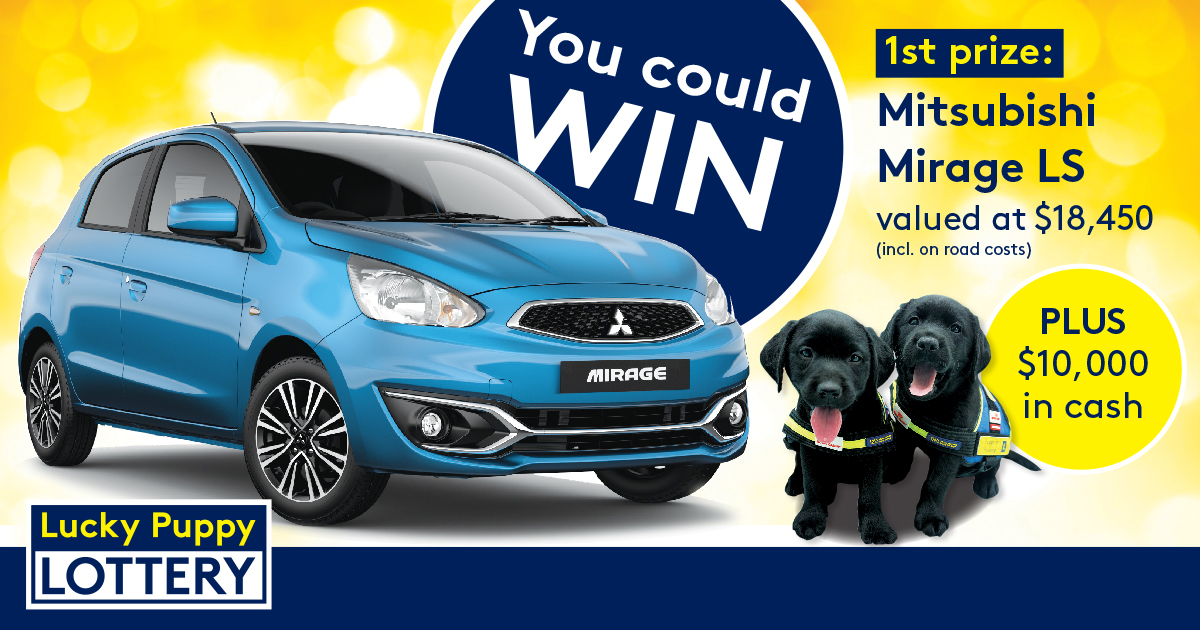 "Image shows brand new car, text beside image of car reads ""You could win 1st prize: Mitsubishi Mirage LS valued at $18,450, plus $10,000 cash"""